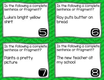 Complete Sentence or Sentence Fragment Task Cards