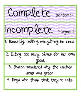 Complete Sentence vs. Fragment Sorting Activity with Recording Sheet