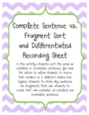 Complete Sentence vs. Fragment Sorting Activity with Recor