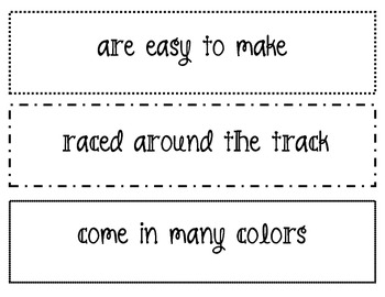 Complete Sentence/Fragments Whole Group Class Sorting Activity