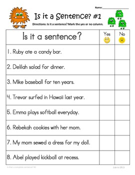 Writing complete sentences worksheets 3rd grade