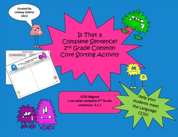 Complete Sentences: 2nd-3rd Grade Common Core Sorting Activity