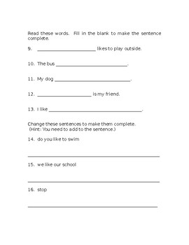 Complete Sentences Assessment