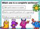 Complete Sentences Digital BOOM Task Cards