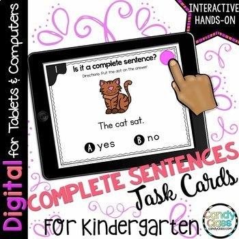 Complete Sentences Digital Task Cards - Paperless for Google Use