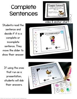 Complete Sentences Digital Task Cards - Kindergarten Grammar for Google Use