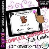 Complete Sentences Activity: Task Cards for Kindergarten Google Classroom Use