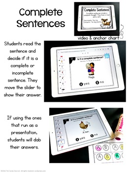 Complete Sentences Activity: Kindergarten Google Classroom Distance Learning