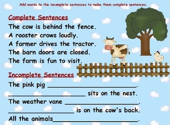 Complete Sentences Down on the Farm