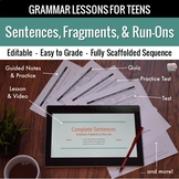 Complete Sentences, Fragments, & Run-ons: Scaffolded Grammar Lesson Set