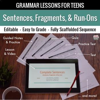Complete Sentences, Fragments, Run-ons Unit: Grammar Lesson, Quiz, Test, & More