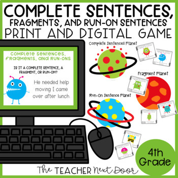Complete Sentences, Fragments and Run-Ons Game Center Activity
