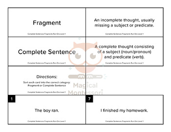 Complete Sentences, Fragments, and Run-Ons Level 1