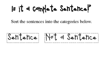 Complete Sentences Literacy Center