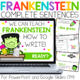 Frankenstein Halloween Writing Complete Sentences for Powe