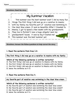 Complete Sentences Multiple Choice/Fix Errors