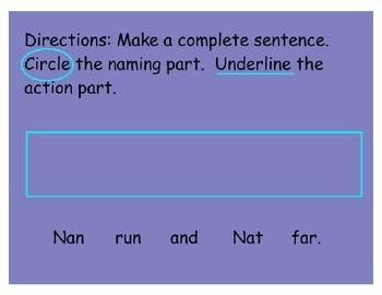 Mimio Complete Sentences Naming part & Action part  Reading Street Unit 4 Week 3