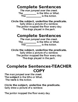 Complete Sentences Notes