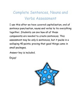 Complete Sentences, Nouns and Verbs Assessment