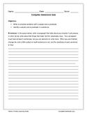 Complete Sentences Paragraph Quiz