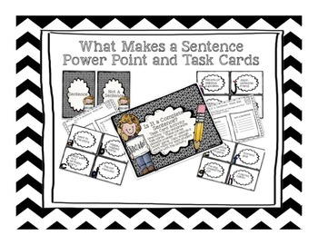 Complete Sentences-  Powerpoint Presentation and Task Cards