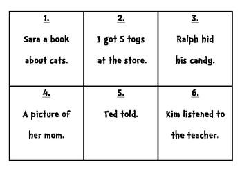 Complete Sentences Scoot/Task Cards