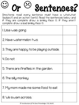 Complete Sentences {Super Print - 8}