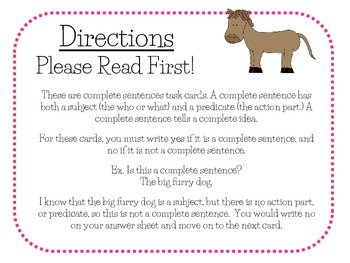 Complete Sentences Task Cards For Journeys Grade 2