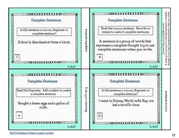 Complete Sentences Task Cards