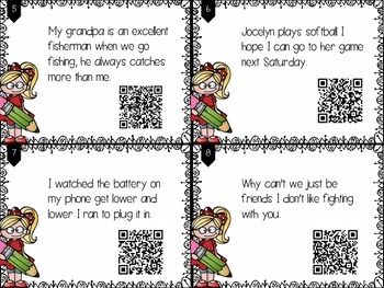 Complete Sentences Task Cards with (or without) QR Codes