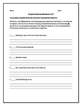 Complete Sentences Worksheet