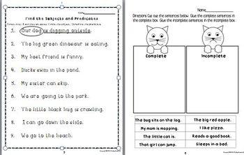 Complete Sentences Worksheet Pack