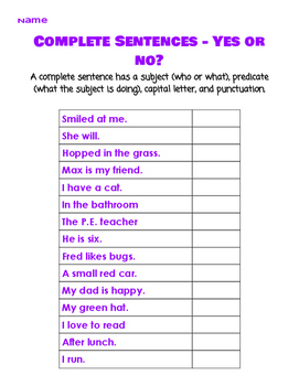 Complete Sentences - Yes or No?
