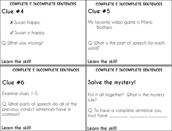 Complete Sentences and Fragments Task Cards