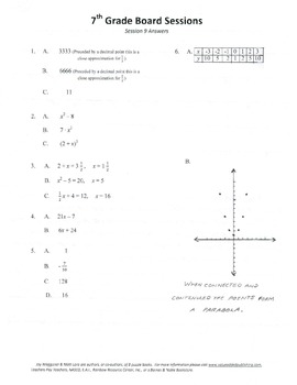 Complete Set 20 7th Grade Board Sessions,Common Core,Review,Quiz Bowl,digitally