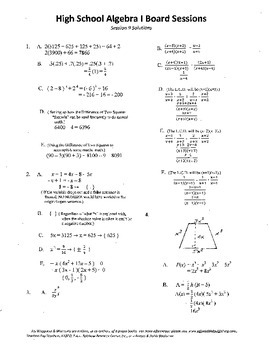 Complete Set 20 Algebra I Board Sessions,Review WITH solutions,ACT/SAT Prep