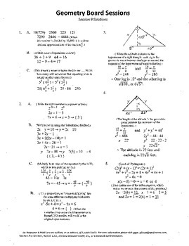 Complete Set 20 Board Geometry Board Sessions,Review WITH Solutions,ACT,SAT