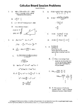 Complete Set 20 Calculus Board Sessions,Review WITH Solutions, AB AP Test