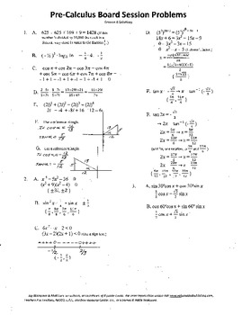 Complete Set 20 Pre-Calculus Board Sessions,Review WITH solutions,ACT/SAT Prep