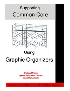 COMPLETE SET Common Core Graphic Organizer Grades 6 to 8 ELA Reading Literature
