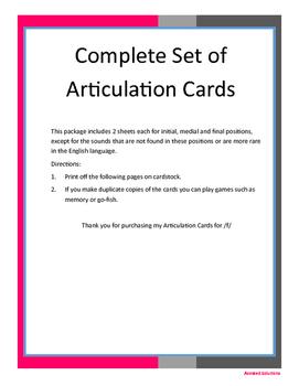Complete Set of Articulation Cards
