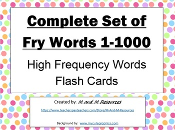 Complete Set of Fry Sight Words 1-1000 Flash Cards
