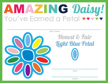 Complete Set of Girl Scouts inspired Daisy Petal & Leaf Certificates