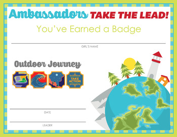 Complete Set of Girl Scout inspired Ambassadors Badge and Journey Certificates