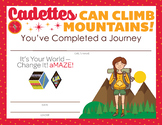 Complete Set of Girl Scout inspired Cadette Badge and Jour