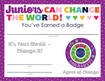 Complete Set of Girl Scout inspired Junior Badge and Journey Certificates