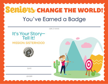 Complete Set of Girl Scout inspired Seniors Badge and Journey Certificates