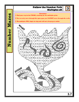 Complete Set of Number Mazes: Follow the Number Path- Multiples 3 - 9