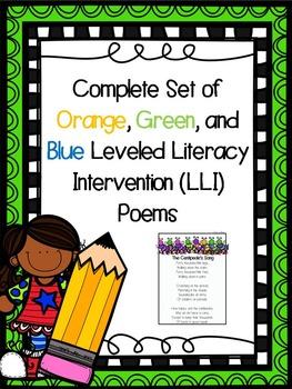 Complete Set Orange Green and Blue LLI Poems 1st Edition