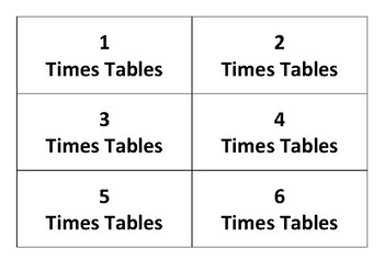 Complete Set of Times Tables Flashcards with answers and cover card